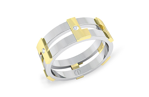 Modern industrial diamond, yellow and white gold men's wedding ring