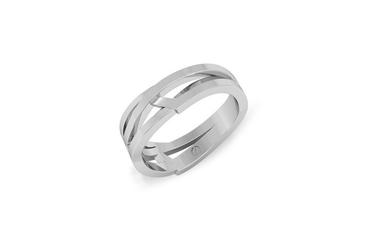 Modern men's curving and angled wedding ring in palladium or platinum