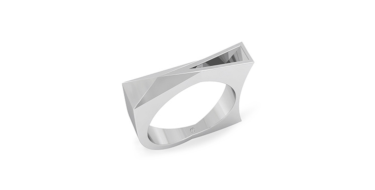 Modern men's palladium angled lines depth wedding ring