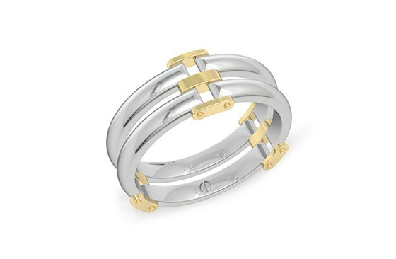 Modern men's palladium wedding band with yellow gold details