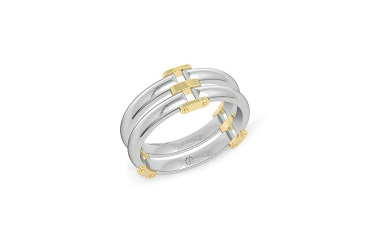 Modern men's palladium wedding band with yellow gold details