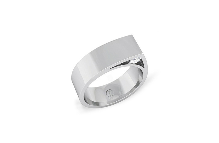 Modern men's palladium wedding ring with hidden diamonds