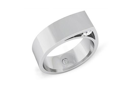 Modern men's palladium wedding ring with hidden diamonds