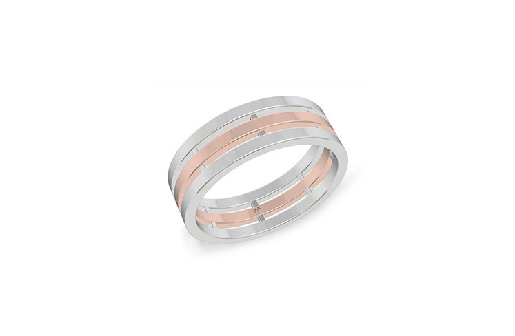 Modern men's rose and white gold wedding ring with three bands