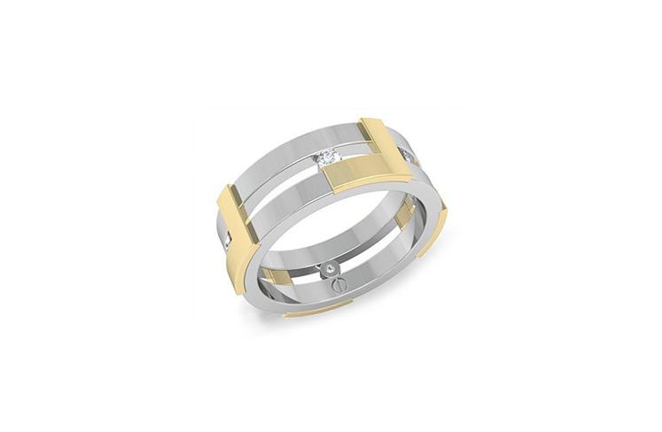 Modern men's wedding ring white gold, yellow gold and diamond band