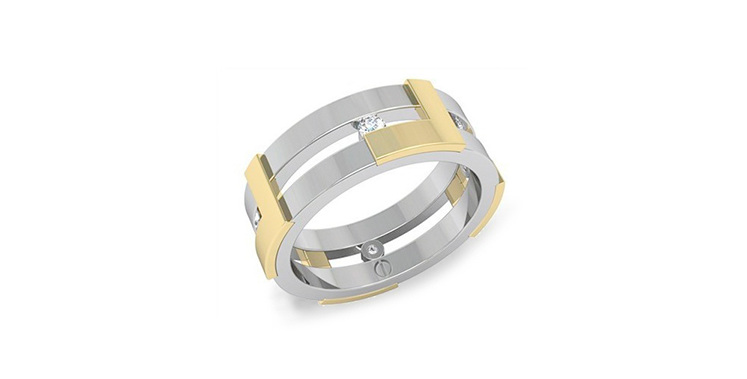 Modern men's wedding ring white gold, yellow gold and diamond band