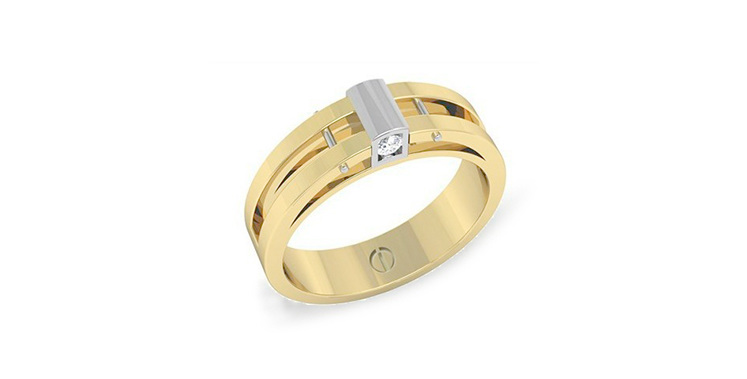 Modern men's yellow and white gold wedding ring with subtle diamonds