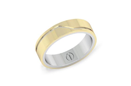 Modern men's yellow gold overlaid on white gold wedding band