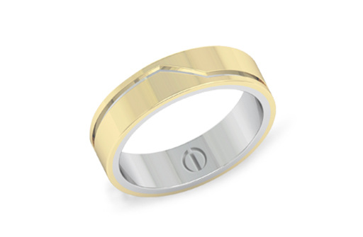 Modern men's yellow gold overlaid on white gold wedding band
