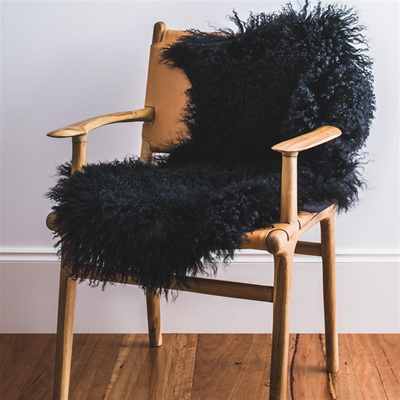 Mongolian Sheepskin - Dyed Black