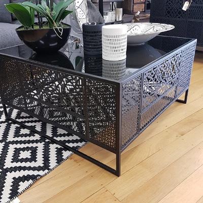 Moroccan Coffee Table W/Black Glass