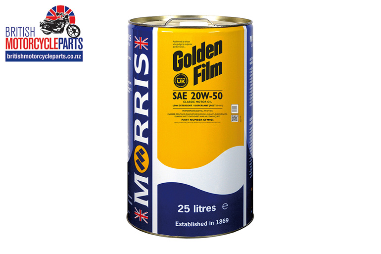 Morris Lubricants Golden Film SAE 20W-50 Classic Engine Oil - 25 Litre - Auck NZ