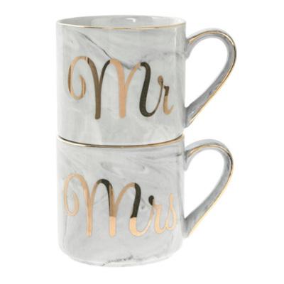Mr/Mrs Marble Stacked Mug Set