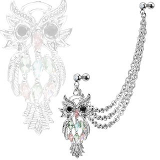 Multi Chain Linked Dangle Gem Owl w/ Double Cartilage Barbell