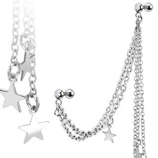 Multi Chain Linked Dangle Stars w/ Gemmed Double Cartilage Barbell
