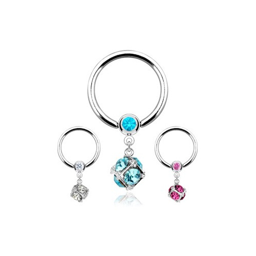 Multi Gem Dangle Dice Captive Ring Glamore Piercing