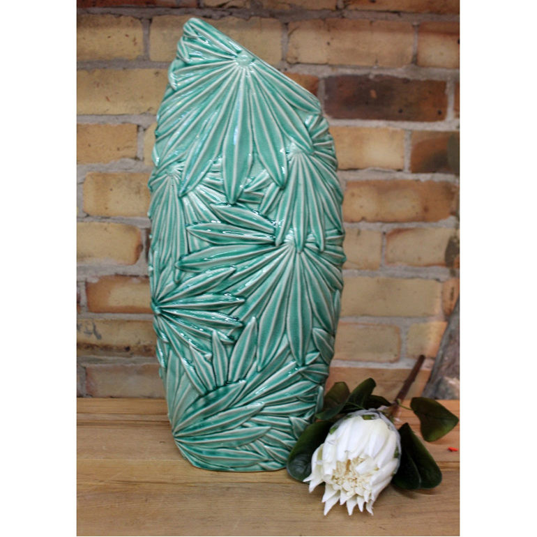 Multi Palm Leaf Vase - Green - Large