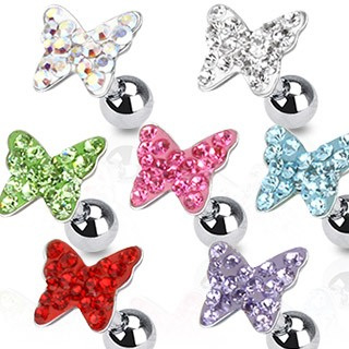 Multi Paved Butterfly Tragus/Cartilage Barbell