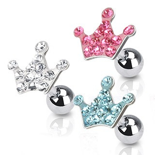 Multi Paved Crown Tragus/Cartilage Barbell