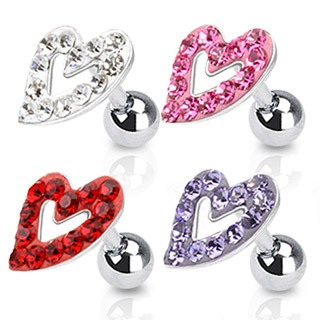 Multi Paved Hollow Heart Tragus/Cartilage Barbell