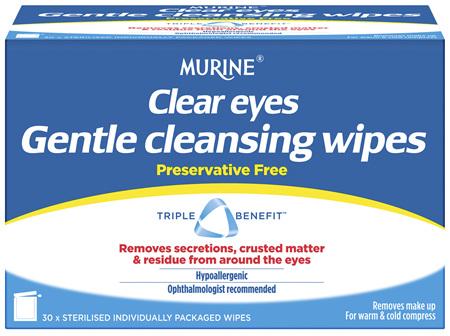 Murine Clear Eyes Wipes 30 Pack