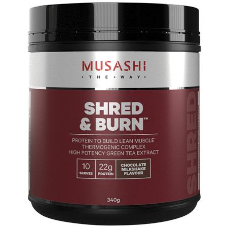 Musashi Shred & Burn Protein Powder Chocolate Milkshake 340g