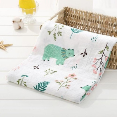 Muslin Swaddle - Mint Bear