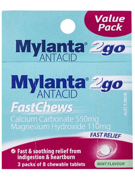Mylanta 2 Go Antacid FastChews Chewable Tablets Mint 3 x 8 Pack