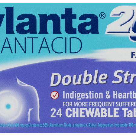 Mylanta 2Go Antacid, Double Strength Chewable Tablets, 24 Pack