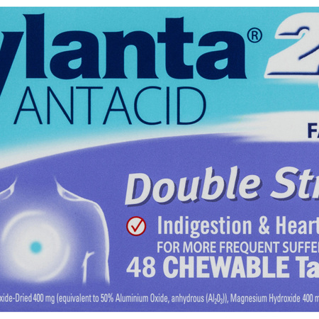 Mylanta 2Go Antacid, Double Strength Chewable Tablets, 48 Pack
