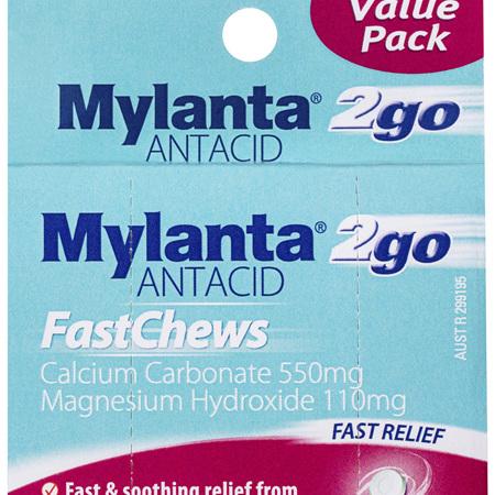 Mylanta 2Go Antacid, Mint FastChews, 3 x 8 Pack