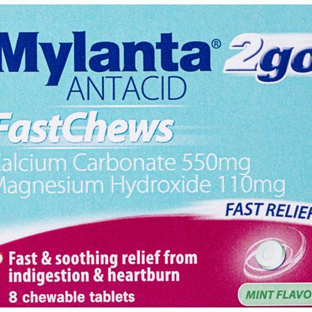 Mylanta 2Go Antacid, Mint FastChews, 8 Pack