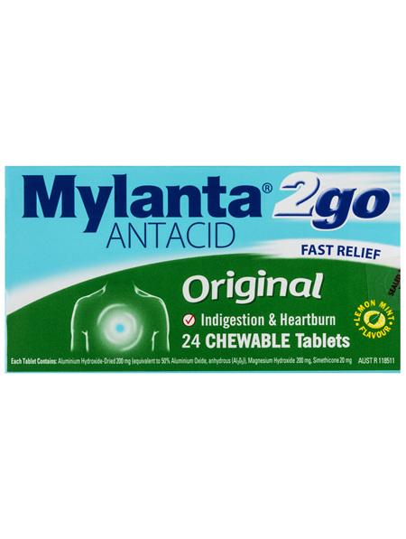 Mylanta 2Go Antacid Original 24 Tablets