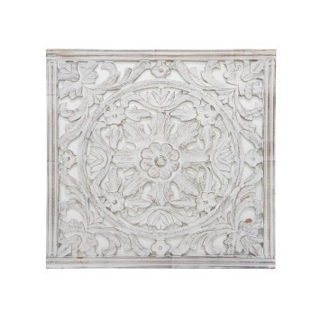 Nailah Carved Wall Panel - White Wash - 74x74cm