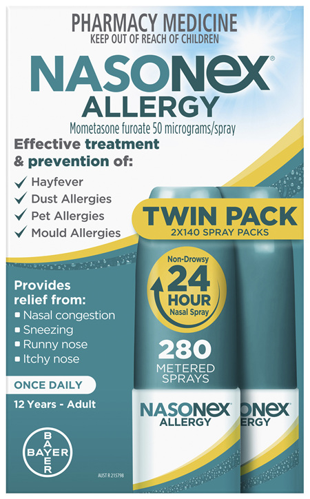 Nasonex Allergy Non-Drowsy 24 Hour Nasal Spray Twin Pack 2 x 140 sprays