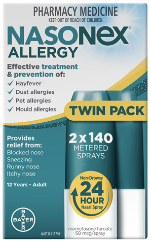 Nasonex Allergy Non-Drowsy 24 Hour Nasal Spray Twin Pack 2 x 140 sprays
