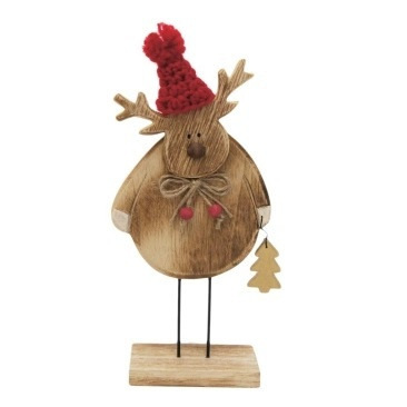 Nataleigh Reindeer Deco - Natural Wood W Red Hat/Large