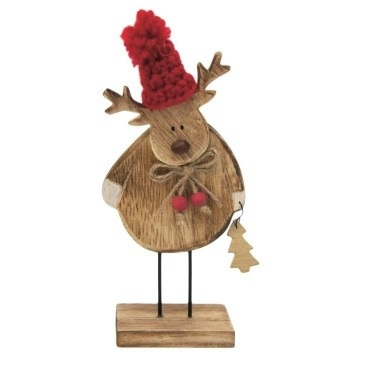 Nataleigh Reindeer Deco - Natural Wood W Red Hat/Small