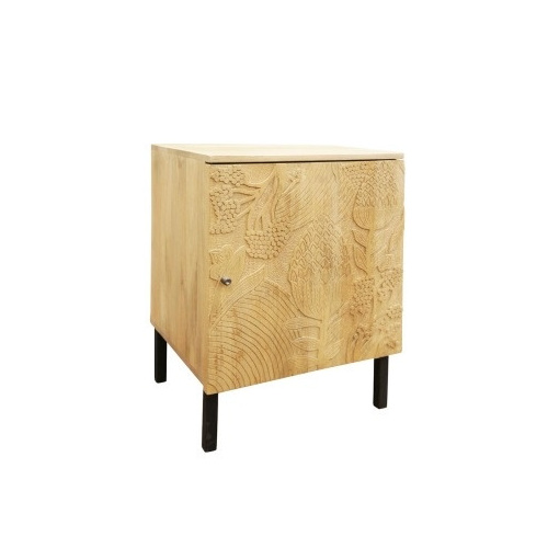 Nativa Single Door Bedside W Carved Front - 45x65cmh