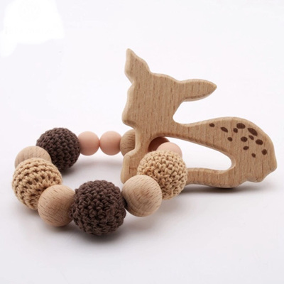 Natural Beech Wood Fawn & Crochet Teether