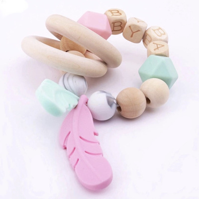 Natural Beech Wood & Silicone Feather Teether