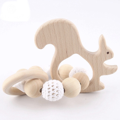 Natural Beech Wood Squirrel & Crochet Teether