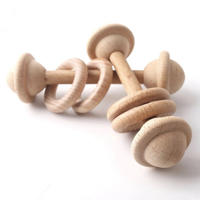 Natural Beech Wood Teething Rattle