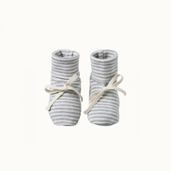 Nature Baby Cotton Booties Grey Marle Stripe