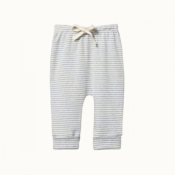 Nature Baby Cotton Drawstring Pants Grey Marle Stripe