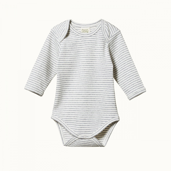 Nature Baby Cotton Long Sleeved Body Suit Grey Marle Stripe