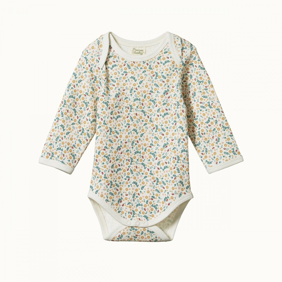 Nature Baby Cotton Long Sleeved Body Suit June's Garden