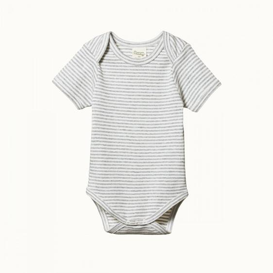 Nature Baby Cotton Short Sleeve Bodysuit Grey Marle Stripe