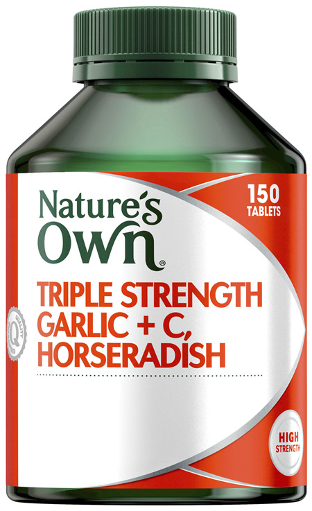 Nature's Own Triple Strength Garlic + C, Horseradish 150 Tablets