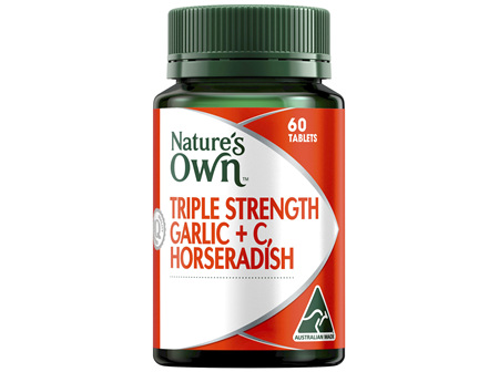 Nature's Own Triple Strength Garlic + C, Horseradish